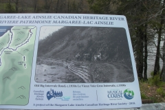 One of the many historical panels placed around the Margaree watershed by the Margaree,Lake Ainsley Canadian Heritage River Society.