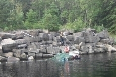 Playing out the net at MacKenzie Pool.