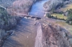 Aerial view of Cranton Bridge showing accumulation of debris