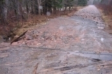Road damage on Big Intervale Crossroad