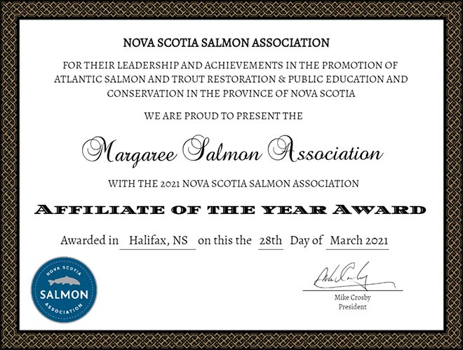 MSA Certificate - Nova Scotia Salmon Association