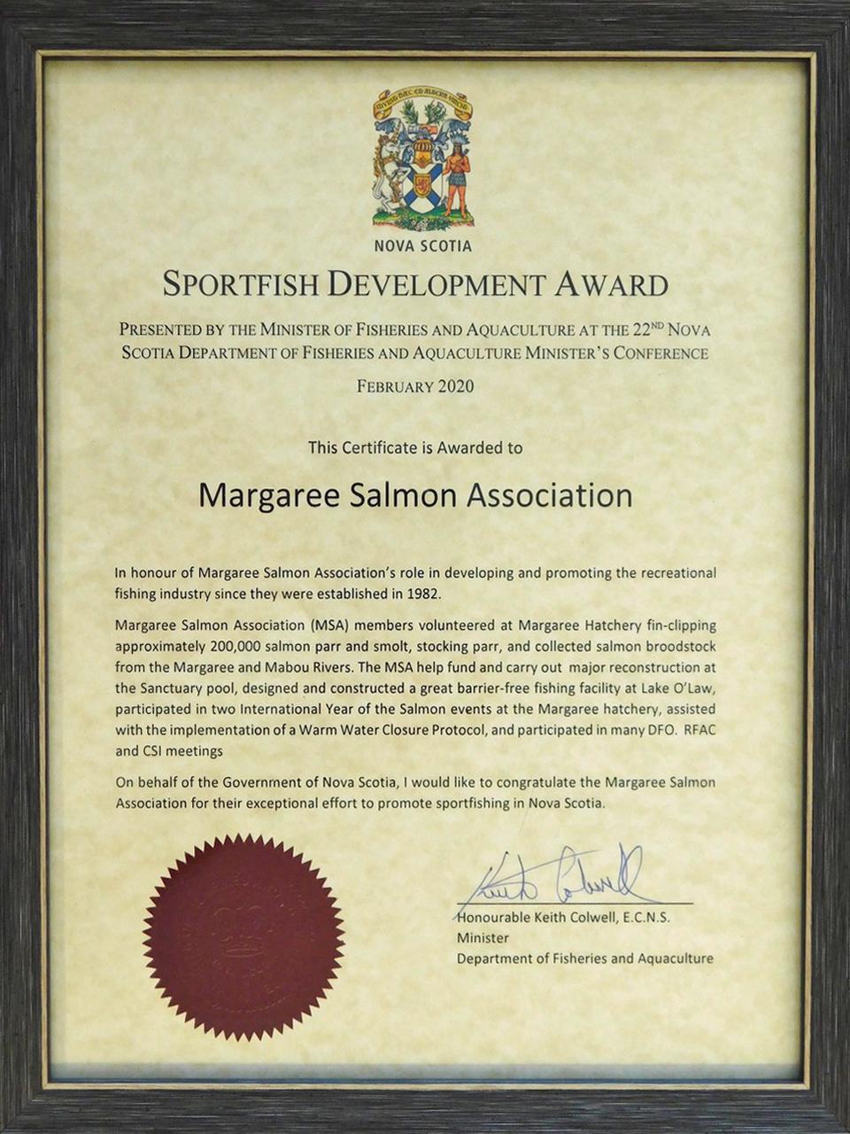 Sportfish Development Award presented to the MSA